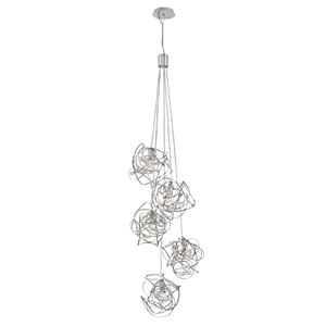 Rumor Polished Nickel Seven-Light Cluster Pendant