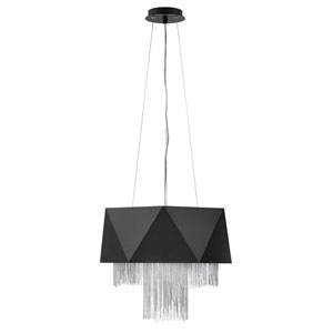 Zuma Satin Black with Silver Chain Six-Light Pendant