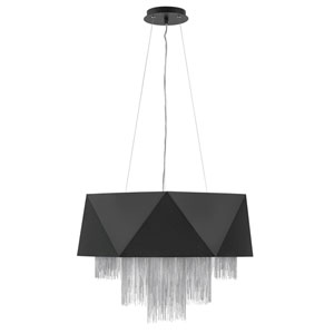 Zuma Satin Black with Silver Chain Eight-Light Pendant