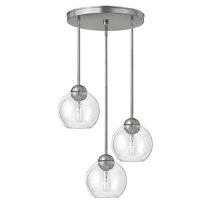 Vivo Brushed Nickel Three-Light Cluster Pendant with Clear Glass