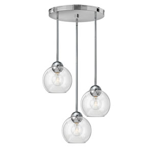 Vivo Polished Chrome Three-Light Cluster Pendant with Clear Glass