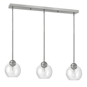 Vivo Brushed Nickel Three-Light Pendant with Clear Glass