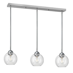 Vivo Polished Chrome Three-Light Pendant with Clear Glass
