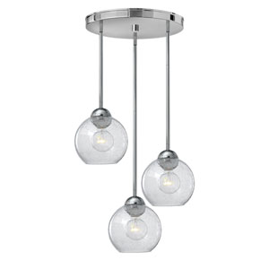 Vivo Polished Chrome Three-Light Cluster Pendant with Clear Seedy Glass