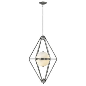 Spectra Pewter Two Light Foyer Pendant with Etched Opal Glass