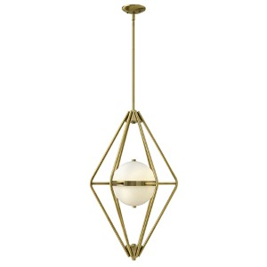 Spectra Retro Brass Two Light Foyer Pendant with Etched Opal Glass