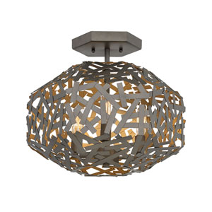 Kestrel Metallic Matte Bronze Three-Light Semi-Flush Mount