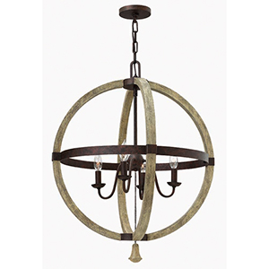 Middlefield Iron Rust 30-Inch Four Light Chandelier
