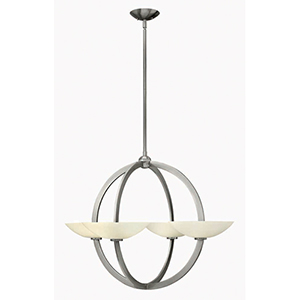 Method Brushed Nickel Eight Light Chandelier with Etched Opal Glass