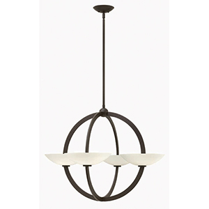 Method Vintage Bronze Eight Light Chandelier with Etched Opal Glass