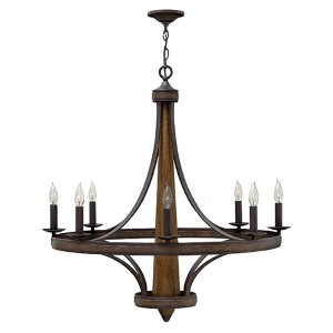 Bastille Vintage Bronze Eight Light Chandelier