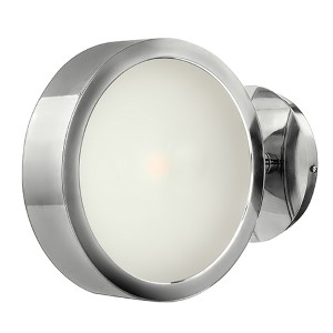 Broadway Polished Aluminum One Light Wall Sconce with Etched Glass