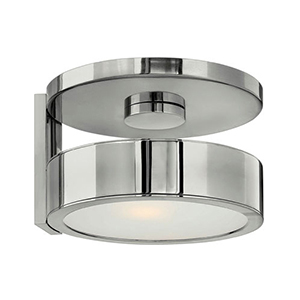Broadway Polished Aluminum 8.5-Inch One Light Wall Sconce with Etched Glass