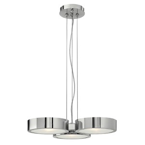 Broadway Polished Aluminum Three Light Chandelier with Etched Glass