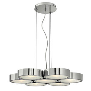 Broadway Polished Aluminum Seven Light Chandelier with Etched Glass
