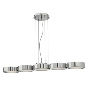 Broadway Polished Aluminum Five Light Chandelier with Etched Glass