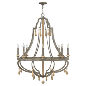 Cordoba Distressed Iron 36-Inch Eight-Light Chandelier