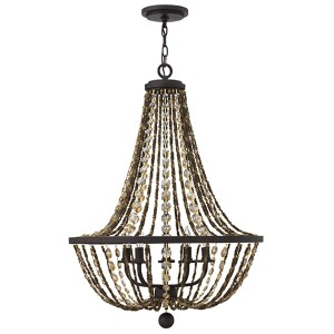Hamlet Vintage Bronze Five Light Chandelier with Hex Crystal Strand