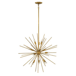 Tryst Burnished Gold Twelve-Light Stem Hung Pendant
