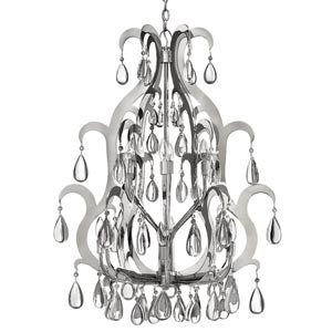 Xanadu Polished Stainless Steel Twelve-Light Chandelier