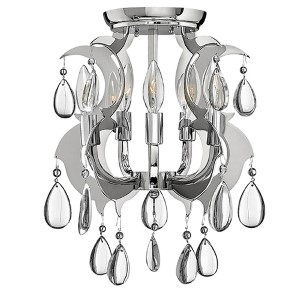 Xanadu Polished Stainless Steel Semi-Flush Ceiling Light