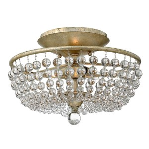 Caspia Silver Leaf Two Light Semi-Flush Foyer with Glass Bead Strand