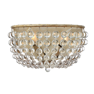 Caspia Silver Leaf Two Light Wall Sconce with Glass Bead Strand