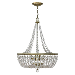 Caspia Silver Leaf Four Light Foyer Pendant with Glass Bead Strand
