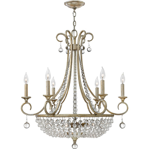 Caspia Silver Leaf Nine Light Chandelier with Glass Bead Strand