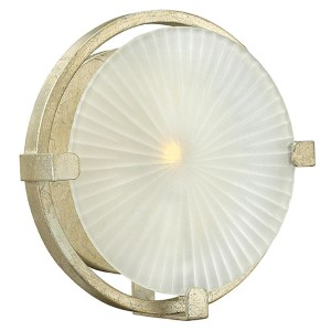 Helios Silver Leaf 9-Inch One Light Wall Sconce with Piastra Etched Glass