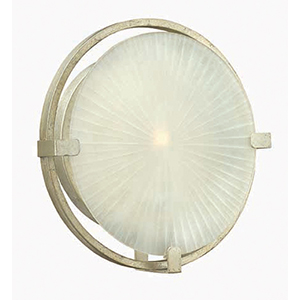 Helios Silver Leaf One Light Wall Sconce with Piastra Etched Glass