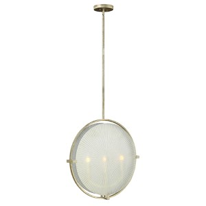 Helios Silver Leaf Three Light Foyer Pendant with Piastra Etched Glass