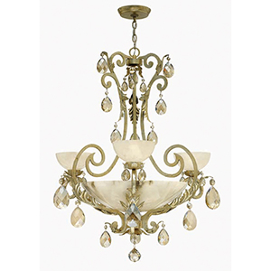Barcelona Silver Leaf Three Light Chandelier with Natural Alabaster