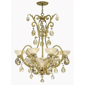 Barcelona Silver Leaf Six Light Chandelier with Natural Alabaster