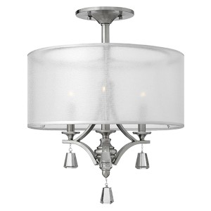 Mime Brushed Nickel Three Light Foyer Semi-Flush