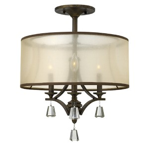 Mime French Bronze Three Light Foyer Semi-Flush