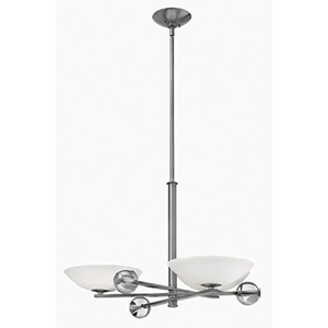 Parallax Brushed Nickel Three Light Chandelier with Etched Opal Glass