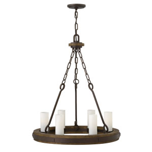 Cabot Rustic Iron 24-Inch Six-Light Chandelier