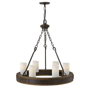 Cabot Rustic Iron 28-Inch Six-Light Chandelier