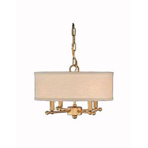 Antique Brass Ceiling Pendant w/ Putty Linen Shade
