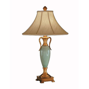 Celadon Porcelain and Antique Brass Table Lamp w/ Ivory Silkura Sewn Shade
