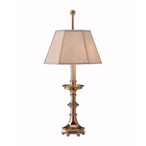 Hand Polished Brass Table Lamp w/ Brussels Cream Linen Shade