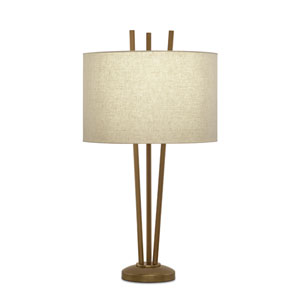 Old World Bronze Table Lamp w/ Putty Linen Rolled Edge Shade