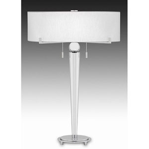 Cartographer Polished Chrome Table Lamp w/ White Linen Louise Rolled Edge Shade