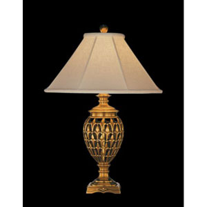 Antique Brass Table Lamp w/ Brussels Cream Linen Sewn Shade