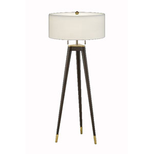Solid Metal Tri-Pod Table Lamp Finished Like Mahogany Wood w/ Anna Cream Rolled Edge Shade