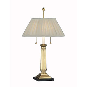 Polished Brass and Ebony Faux Marble Mount Table Lamp w/ Sheer-Sand French Pleat Sewn Shade