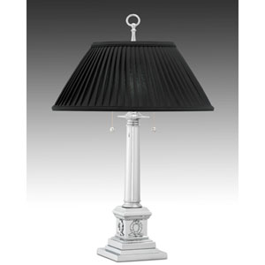 Polished Chrome Table Lamp w/ Ebony Sewn Pleated Shade w/ White Lining