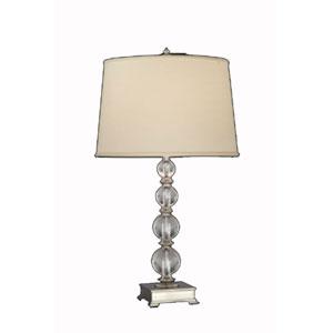 Lead Crystal And Satin Nickel Table Lamp w/ Anna Cream Shade