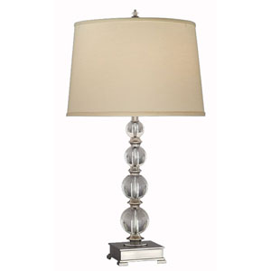 Lead Crystal And Antique Brass Table Lamp w/ Anna Cream Shade